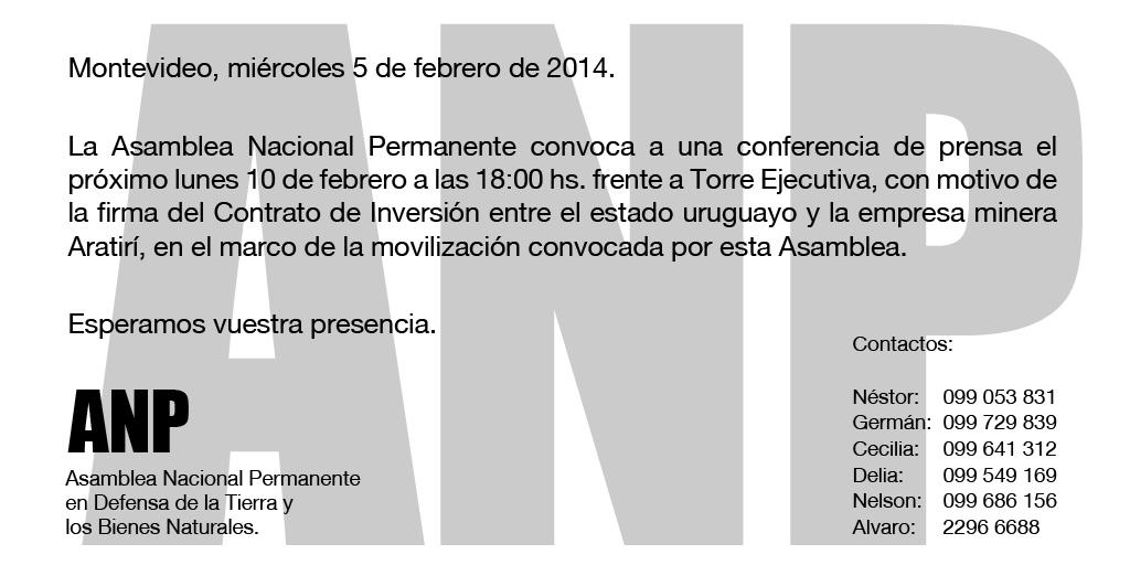 Convocatoria a Conferencia de Prensa ANP